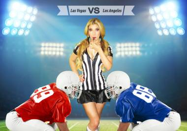 In this showgirl's world, the Super Bowl of all debates is over which city is better.