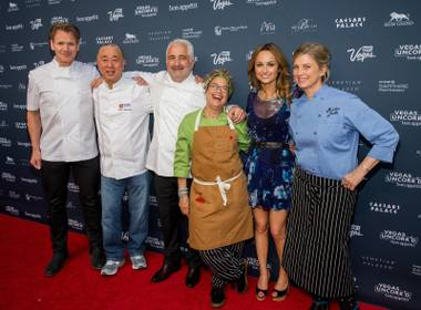 Gordon Ramsay, Nobu Matsuhisa, Guy Savoy, Susan Feniger, Giada De Laurentiis and Mary Sue Milliken at Vegas Uncork'd 2014.