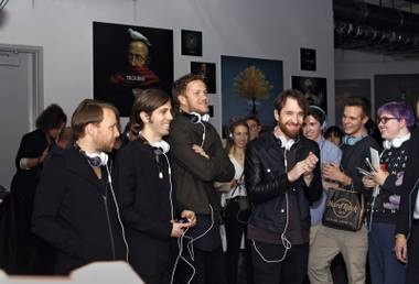 Imagine Dragons at a listening party for their new album.