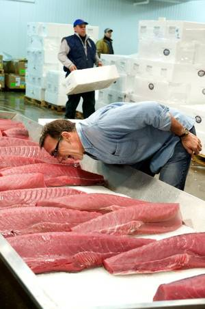 Chef Rick Moonen checks on his fish in 2008.