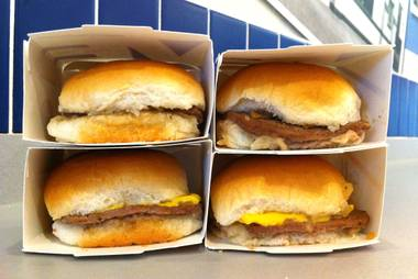 Original and cheese sliders at White Castle, recently opened at Casino Royale on the Strip.