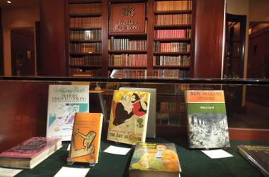 Part of an exhibit of food and drink publications at Bauman Rare Books
