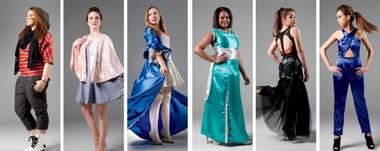Fashion Forward competitors from left to right: Makia Love, Veronica Macsurak, Grace Hutchins, Alysia Marshall, Beatrix Angelique, design by Emily Pumphrey on model Vicky Lemgarci. (Hair and makeup by Sabrina Bates-Whited.)