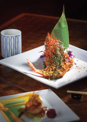 Japañeiro's Nigerian prawn comes with a variety of sauce options.