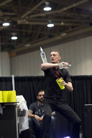 "Dario Doimo, of Las Vegas, competes in the ""Shake It Up!"" Flair Competition at the 2015 Nightclub & Bar Show, Tuesday March 31, 2015."