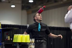 "Colby Good, of Las Vegas, competes in the ""Shake It Up!"" Flair Competition at the 2015 Nightclub & Bar Show, Tuesday March 31, 2015."