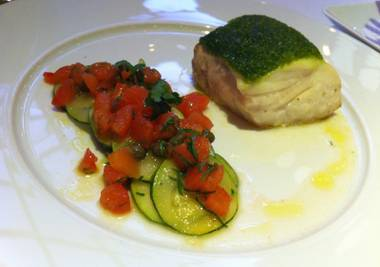 Fresh herb-crusted halibut with zucchini and summer squash and sauce vierge.