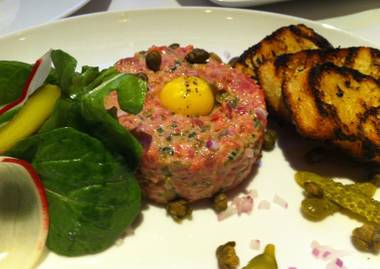 DB Brasserie's new steak tartare, made with Brandt Farms beef and pickled vegetables.