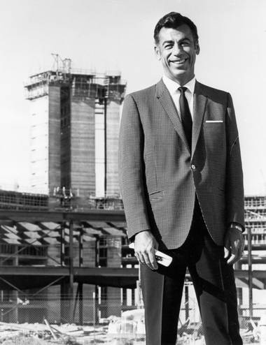 The father: Kirk Kerkorian, (1917-2015) in front of the future International Hotel in 1969.