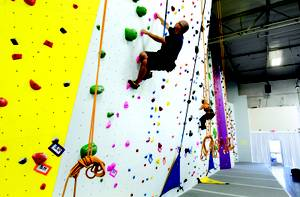 The 30-foot wall has auto-belays and a nice range of difficulty.