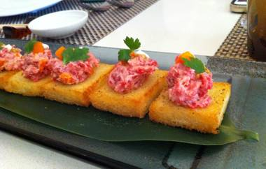 Wagyu beef tartare on King's Hawaiian bread crostini.