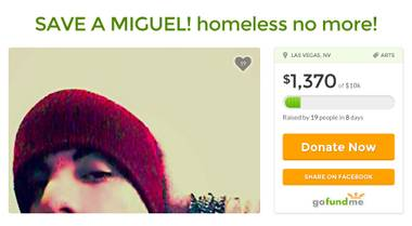 Miguel Gomez went from dining with celebs to struggling to find a place to sleep. Can GoFundMe turn his luck around?