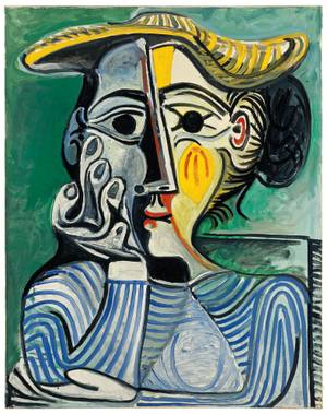 "Pablo Picasso, ""Woman Wearing Yellow Hat (Jacqueline),"" 1962, Oil on canvas,  © 2015 Estate of Pablo Picasso/Artists Rights Society (ARS), New York"