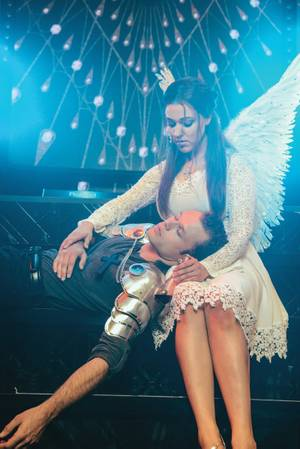 James Byous as Romeo and Olivia Harris as Juliet in <em>Baz</em>.