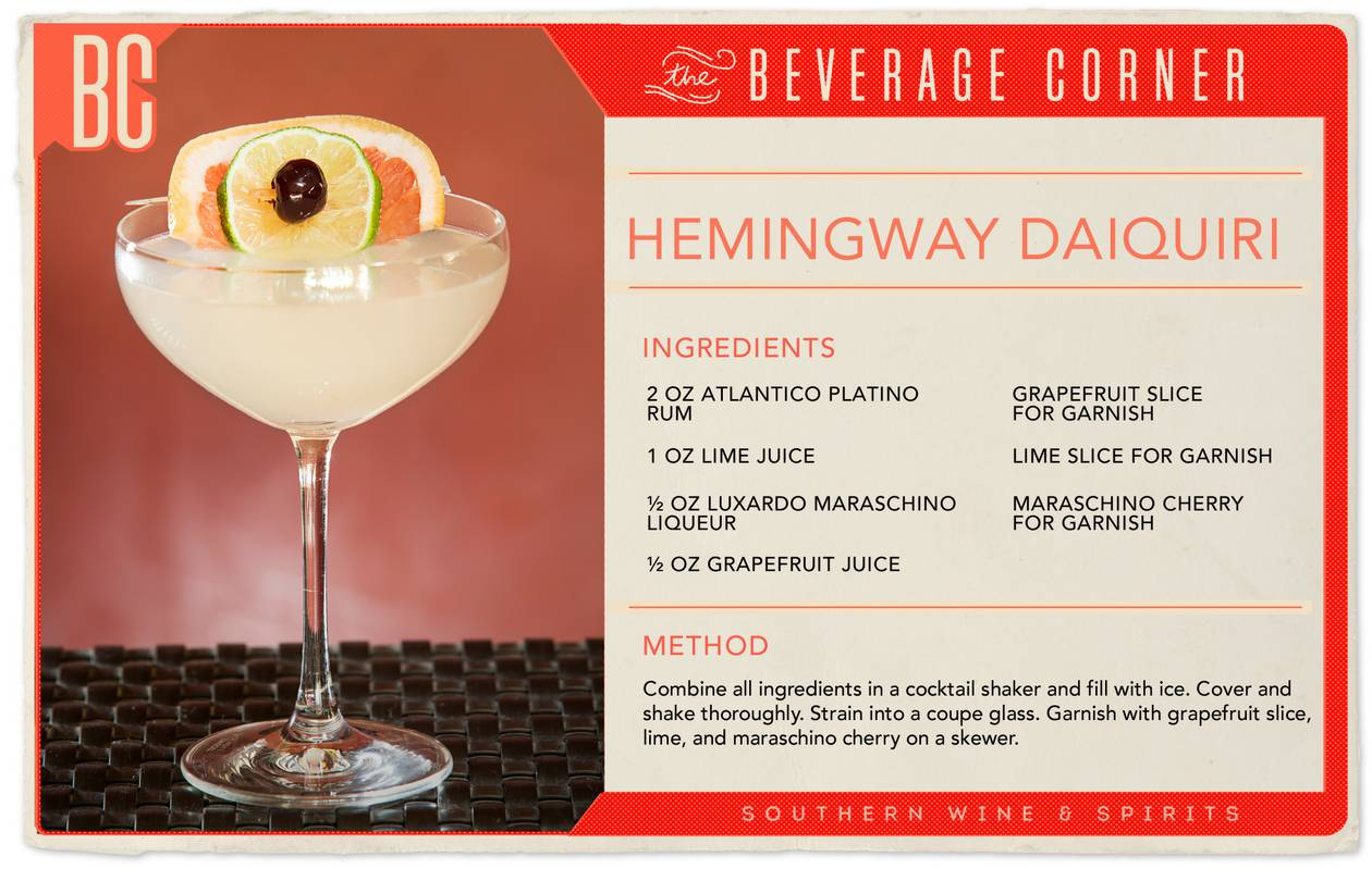 Rumored to be Ernest Hemingway's drink of choice during the Key West years, the drink is expectedly heavy on booze, light on sugar and strong enough to impress.