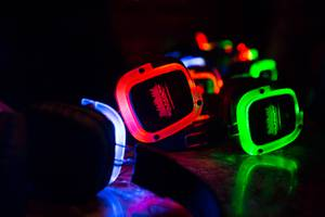 Marquee's Silent Disco features three different music channels for clubbers to choose from, each with a corresponding headphone color.
