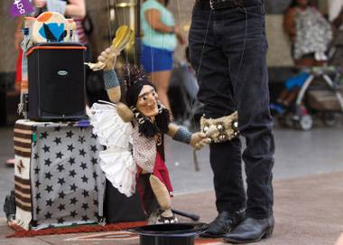 The proposed City of Las Vegas ordinance aims to curb crowding, nudity, noise, turf wars among buskers and aggressiveness toward visitors.