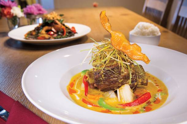 Yellow curry with beef shortrib.