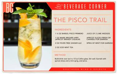 This cocktail is exotic, smooth and slightly sweet but maintains the strong kick for which pisco is known.