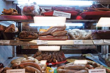 Sausages like the Hungarian gyulai, charcuterie, chicken blintzes and more.