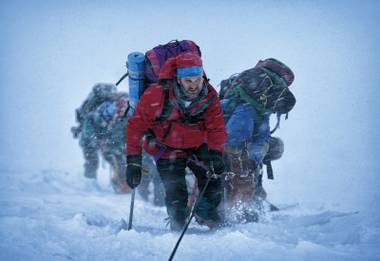 Jason Clarke leads his group of climbers to certain doom in Everest.