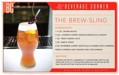 The Brew-Sling has a layered flavor profile that hinges on the soft sweetness of cherry, from the liqueur and ale, balanced with the lemon tartness and grounded in the smooth richness of the whisky.