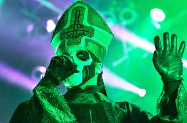 Papa Emeritus spent most of the night with his arms outstretched as if he were satanically blessing the crowd.