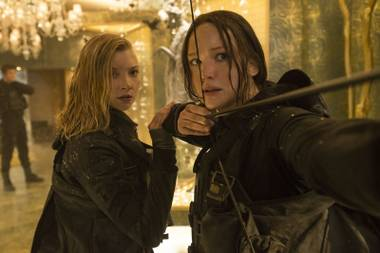 Natalie Dormer and Jennifer Lawrence prepare to meet their enemies in The Hunger Games: Mockingjay - Part 2.