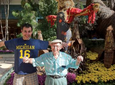 Steve Friess and Walt, exploring the Bellagio Conservatory.