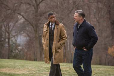 When opposite temperaments attract: Will Smith, left, and Alec Baldwin, in Concussion.