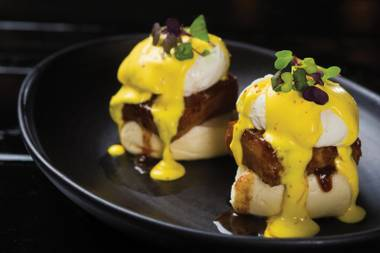 The Sunday Brunch Club offers indulgent pork belly Benedict.