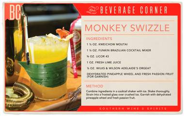 Feb. 8 is Chinese New Year, welcoming in the Year of the Monkey, which is associated with curiosity, adventure, innovation and resolve. This cocktail is experimental, fun and festive while incorporating traditional elements.