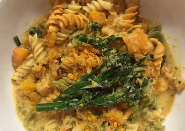 Vegenation's butternut fusilli with broccolini and olives.