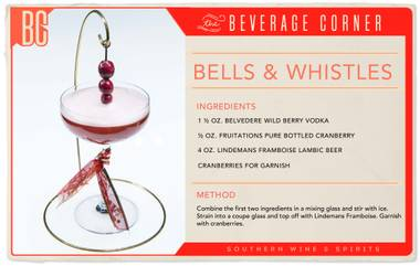 Reminiscent of a classic vodka cranberry, this version really does have all the bells and whistles. Ideal for any holiday party, this cocktail is festive, distinctive and complete with a sparkling twist.