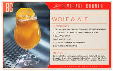 If there was ever a cocktail made to be sipped while sitting fireside in a log cabin on a brisk winter's day, it's this one. Wolf & Ale combines all the best flavors of the season to create a drink that is strong, smooth and rich, while the addition of the ale prevents it from becoming too heavy.