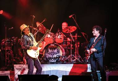 Carlos Santana, Michael Shrieve and Neal Schon back together onstage Monday, March 21, 2016, at House of Blues in Mandalay Bay.
