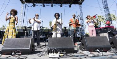 Kamasi Washington (center) plays Coachella 2016.