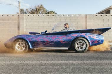 "Gary Ried and his ""Bubble Ray"", once a junked 1975 Corvette."