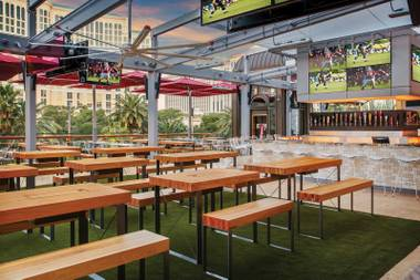 Paris' Beer Park is one of many venues on the Strip hosting a Super Bowl viewing party.
