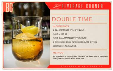 Complex, aromatic and completely unique—this cocktail is truly in a league of its own. Unexpected in all the right ways, the Double Time balances notes of citrus with warm, chocolate bitters and a smooth tequila finish.