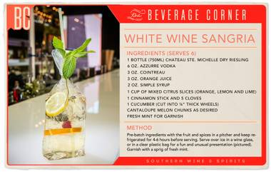 What's better than a big batch of refreshing, white wine sangria on a hot day? Whip this up for your next BBQ or pool party, and serve it in a plastic bag with a straw if you really want to impress your guests.