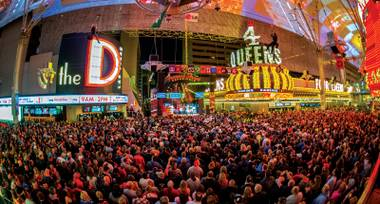 Cheap Trick drew a massive crowd to Fremont Street Experience.