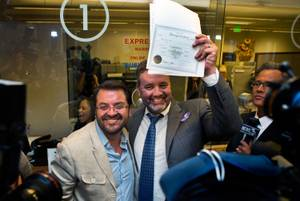 Antioco Carrillo and Theo Small, who obtained the first same-gender marriage license in Clark County, will be one of the couples participating in the Center's Marriage Equality Retrospective.