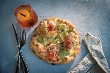 Hunger pangs on the dancefloor? Grub on Lago's small plates, like its speck pizza (pictured), at Hyde Bellagio.
