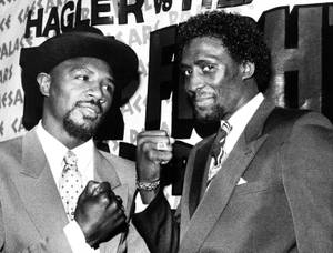 Marvin Hagler (and Tommy Hearns get fired up during a January 1985 news conference hyping their April 15 middleweight title bout at Caesars.