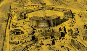 A view from above the Caesars Palace construction site on October 23, 1965.