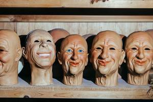 Faces with moving mouths made of rigid latex sit on the production shelf waiting to be used for future animated characters at Characters Unlimited in Boulder City,NV on July 8, 2016.