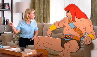 The incongruity of seeing a foul-mouthed He-Man among the live-action Southern California suburbs is the only joke this TV show has to offer.