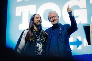 Love Trumps Hate with Steve Aoki & Bill Clinton at Cox Pavilion, November 3