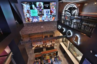 Inside the new Taco Bell Cantina at the Harmon Corner.